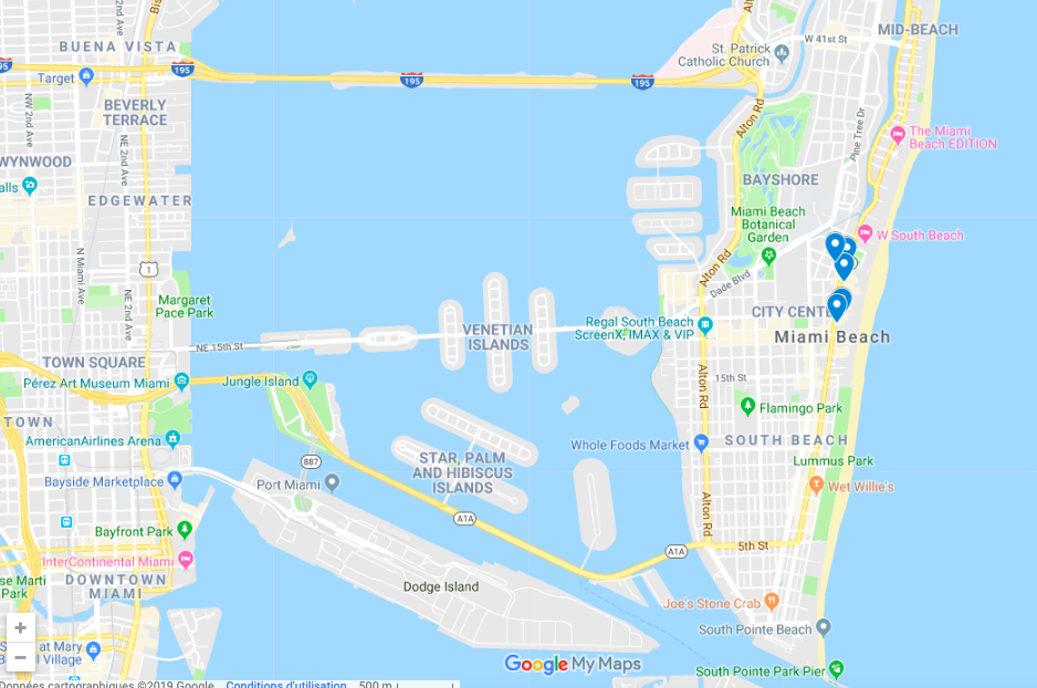 carte des hotels de luxe à Miami Beach